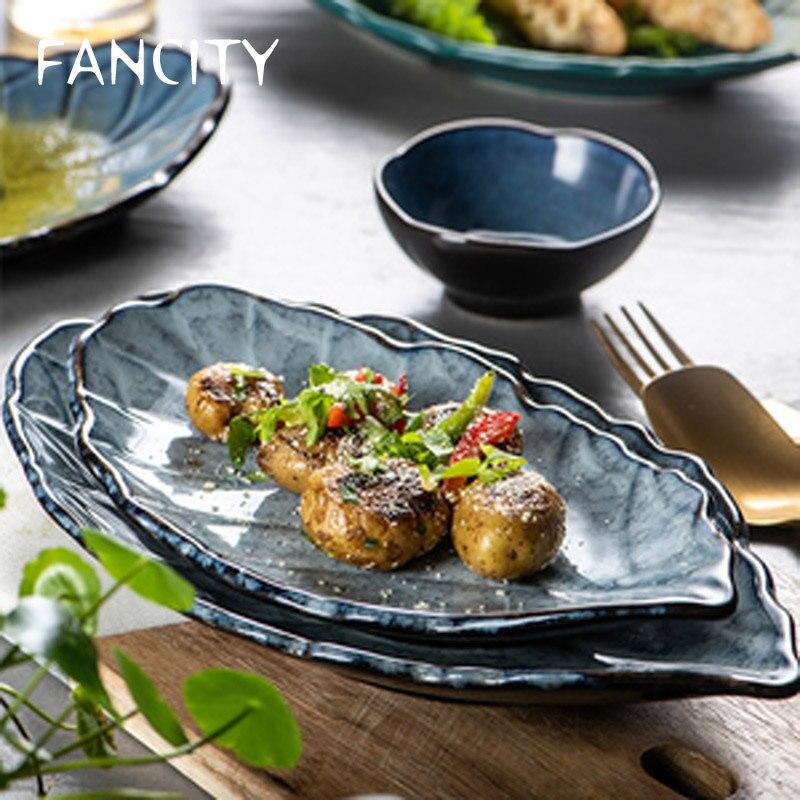 FANCITY-طبق سوشي سيراميك للمنزل ، أطباق إبداعية على الطراز الياباني ، أوراق فردية ، أدوات مائدة ، مجموعة جديدة 2021