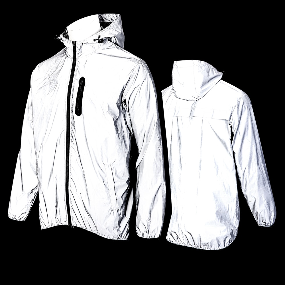 WOSAWE Full Reflective Motorcycle Hooded Jacket Windproof Rainproof Waterproof Night Glowing Bomber Bike Warm Jacket Windbreaker