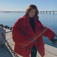 korean version of cherry red lapel single row buckle loop loose fur integrated lamb fur thickened short coat woman