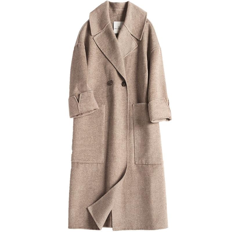 معطف صوف نسائي جديد لعام 2019 معطف نسائي بلون أمريكي أوروبي مع ياقة بدلة معطف كشمير فضفاض على الوجهين