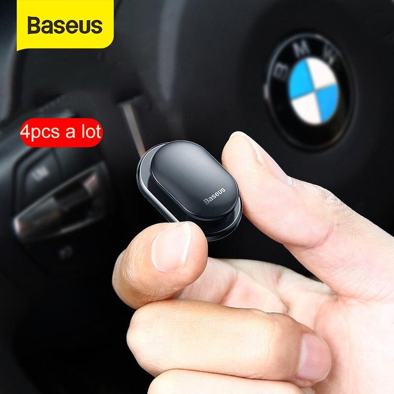 Baseus 4Pcs Car Hooks Organizer Storage for USB Cable Headphone Key Storage Self Adhesive Wall Hook Hanger Auto Fastener Clip
