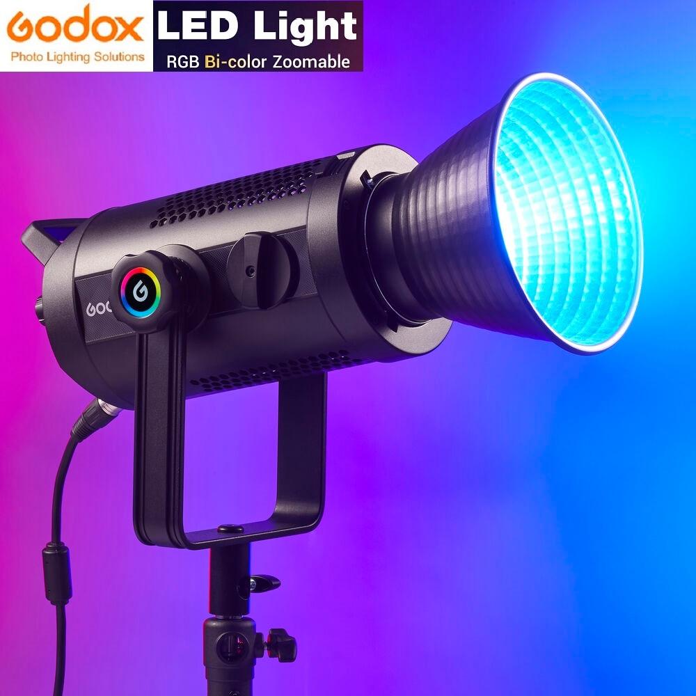 Godox-مصباح فيديو LED 150W 2800K-6500K RGB ، ثنائي اللون ، 37 FX ، مؤثرات CRI 97 ، تطبيق/DMX/2.4G ، زوومابلي ، RGB ، مع حقيبة حمل