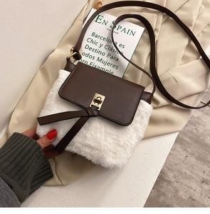 Simple Hong Kong style small bag women 2020 winter new Korean version versatile Fashion Shoulder Bag Plush foreign style messeng