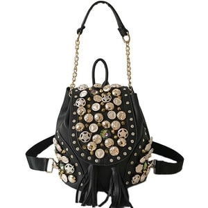 New Personality Belt Tassel Shoulder Bag Fashion Punk Rivet Buckle Bucket Chain Bag 30X22X17Cm