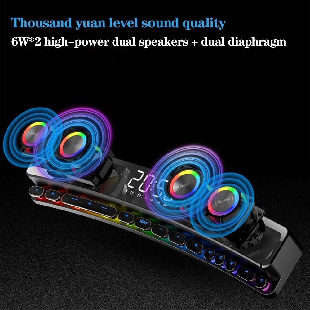3600mAh Bluetooth Wireless Game Speaker soundbar USB 3D Stereo Subwoofer AUX FM Home Clock Indoor Sound Bar Computer Loudspeaker enlarge