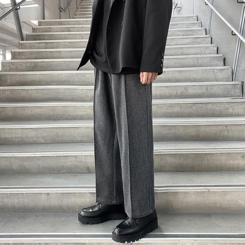 Winter Thick Woolen Pants Men's Fashion Casual Wide-leg Pants Men Streetwear Loose Korean Style Straight Trousers Mens M-5XL