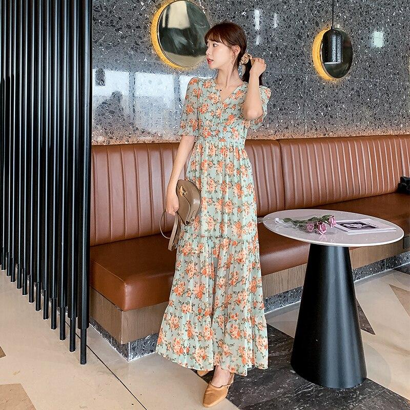 فستان ماكسي بمقاس كبير مطبوع قطعة واحدة كوري مثير للسيدات بأكمام قصيرة ورقبة دائرية فستان بوهو للشاطئ والشاطئ للنساء