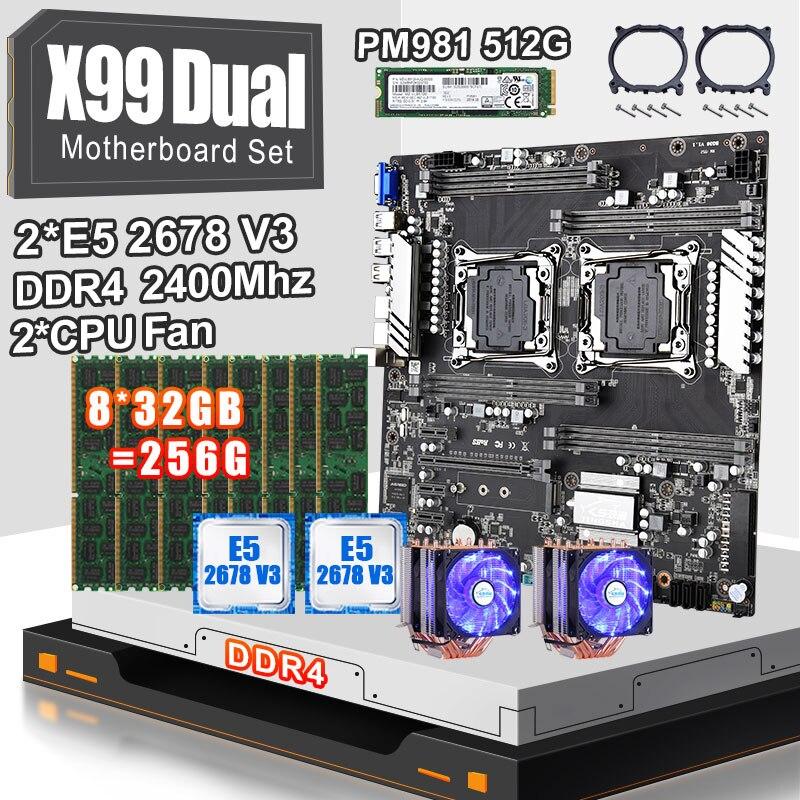 Conjunto de placa base doble JINGSHA X99 con 2 uds E5 2678V3 y 8*32gb ddr4 ecc reg 2400mhz RAM 2 uds ventilador cpu PM981 SSD M.2