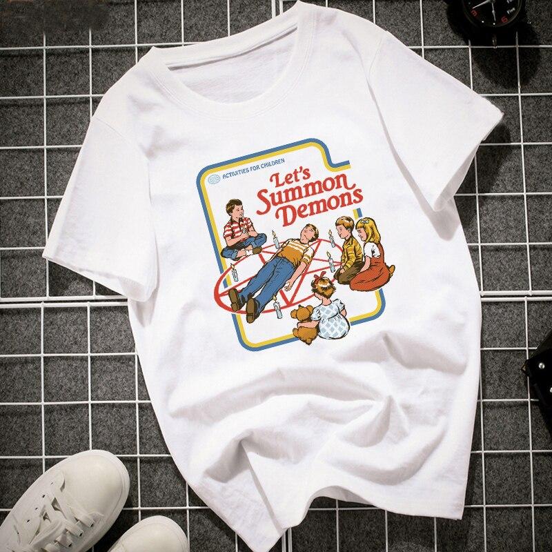 Camiseta divertida Vintage 2018 para mujer, camiseta de manga corta Lets Summer Demons Graphic Tops Harajuku Tumblr, camisetas