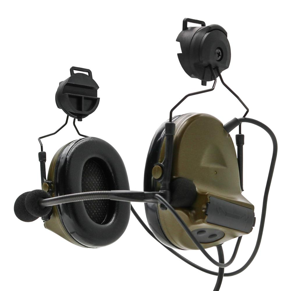 Outdoor hunting headphones Tactical helmet mount ARC track noise reduction pickup COMTAC II tactical electronic shooting headset enlarge
