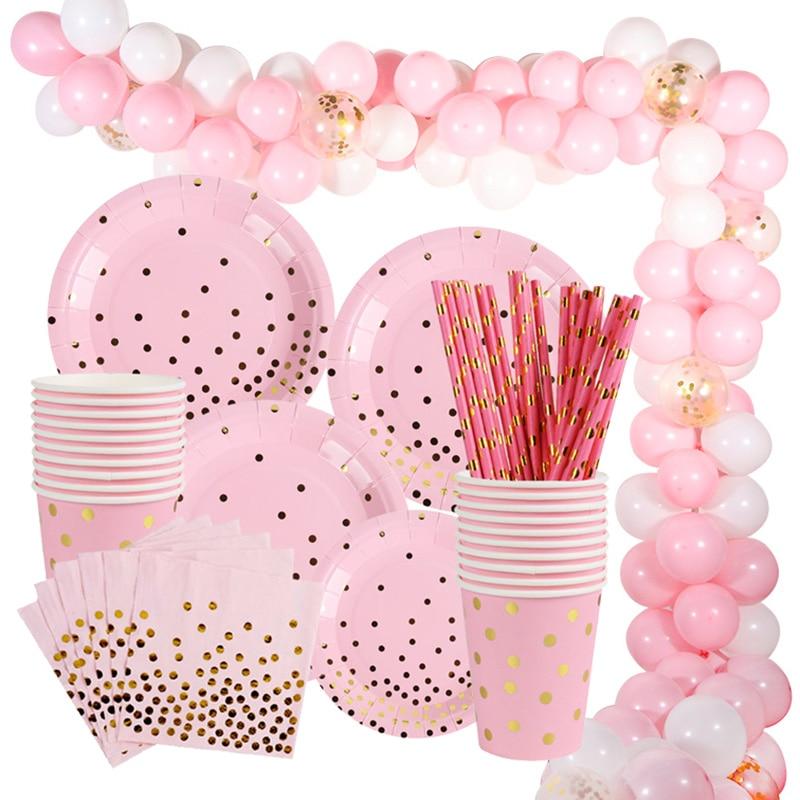 Unicornio Rosa chica fiesta de cumpleaños suministros para niños adultos globo conjunto desechable vaso, plato y servilleta paja sacar bandera fiesta Decoración