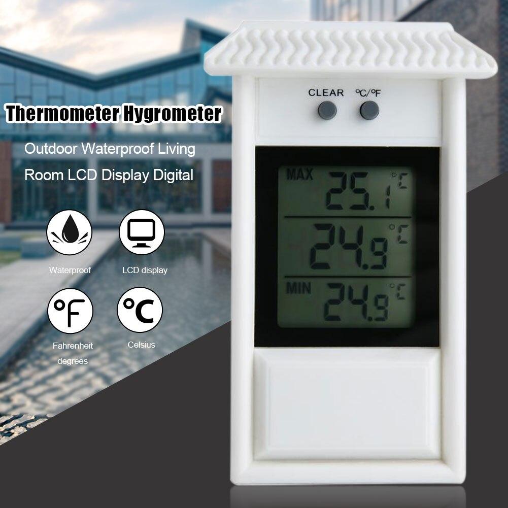 Termómetro Digital para el hogar con pantalla LCD, sala de estar para higrómetro, moderno montado en la pared para interiores, Max Valor Mínimo, impermeable para exteriores