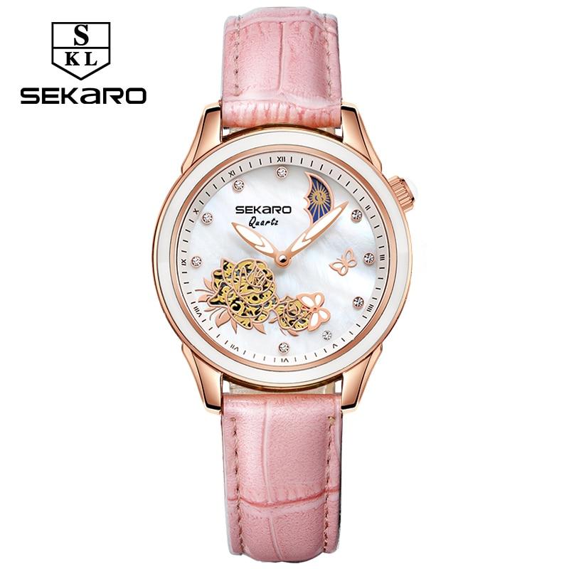 SEKARO 2020 Women Ceramic Quartz Watches Butterfly Design Sapphire Crystal Women's Wristwatch Top Brand Luxury Watches For Gift enlarge