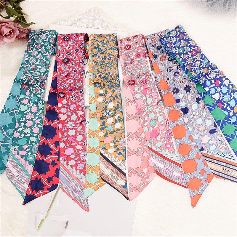 Tasche Schal 2020 Neue Floral Print Frauen Silk Schal Dünne Tasche Band Weibliche Stirnband Mode Kopf Schal Lange Schals & wraps