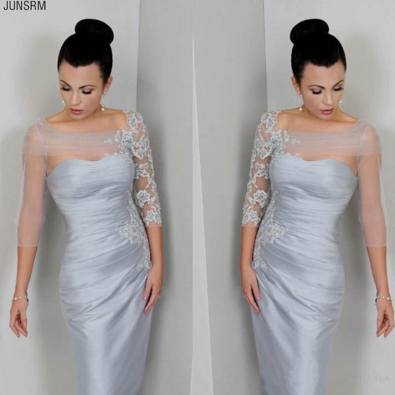 Vestidos de plata de la madre de la novia de manga pura Bateau cuello Apliques de encaje de satén hasta la rodilla vestidos de fiesta formales cortos personalizados