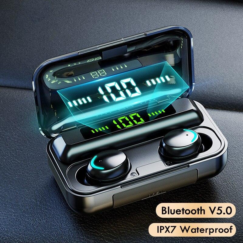 Auriculares inalámbricos con Bluetooth 5,0, caja de carga, Auriculares deportivos estéreo 9D...