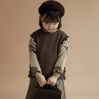 kids girls sweaters vests 2021 vintage toddler girl clothes fashion knitted waistcoat for little girls children cardigan outwear