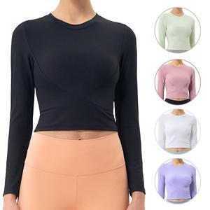 Yoga Crop Top Soft Moisture Wicking Nylon Thumb Hole Stylish Long Sleeve Sport Shirts for Women рубашка женская top mujer