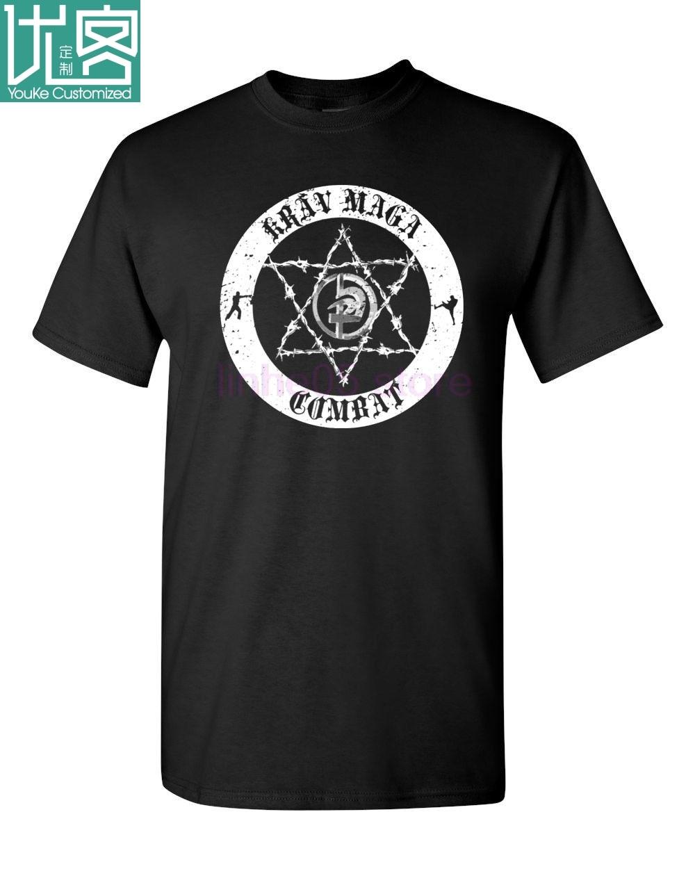 LEQEMAO Krav Maga Combat CIRCLE IDF Defensa de Israel Martialer Artser hombres camiseta Camiseta cuello redondo moda Casual imprimir camiseta