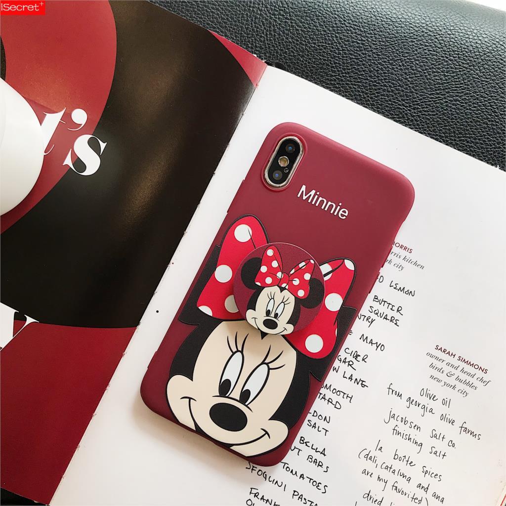 Bonita funda 3D para anillo de Minnie para iphone 6 S plus 7 7plus 8 8plus X XS XR MAX 11 Pro, funda para teléfono de juguete de dibujos animados para chica