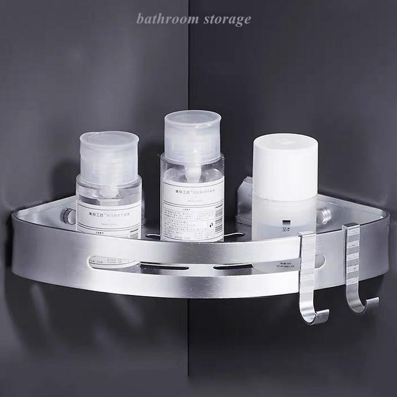 اكسسوارات المطبخ الحمام لا المسامير المعدنية تخزين الرف المنظم مثلث الحائط دش الشامبو حامل تخزين الرف