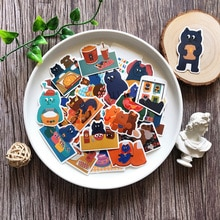 35Pcs Lovely Blue Cat Stickers Junk Journal Album Happy Planner Phone Decoration Stickers DIY Scrapbooking Craft Photo Albums