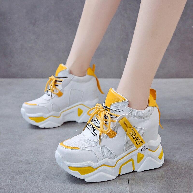 ¡Primavera 2020! Zapatillas gruesas para mujer de Rimocy, zapatos de plataforma con puntera redonda y cordones, zapatos informales en blanco y negro para aumentar la altura
