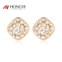 hongye square design shiny crystal stud earrings for female charm wedding party anniversary trendy mothers day gift fashion
