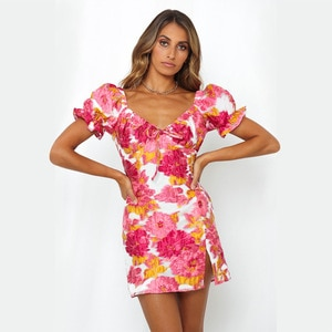 Short Dresses Mini Dress Women Summer Tunika Party 2020 Print Split Connect Undertakes Delivery Spandex