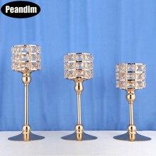 Candelabro de cristal de lujo K9 de PEANDIM, portavelas dorados, centros de mesa para bodas, candelabros para fiestas, decoración del hogar