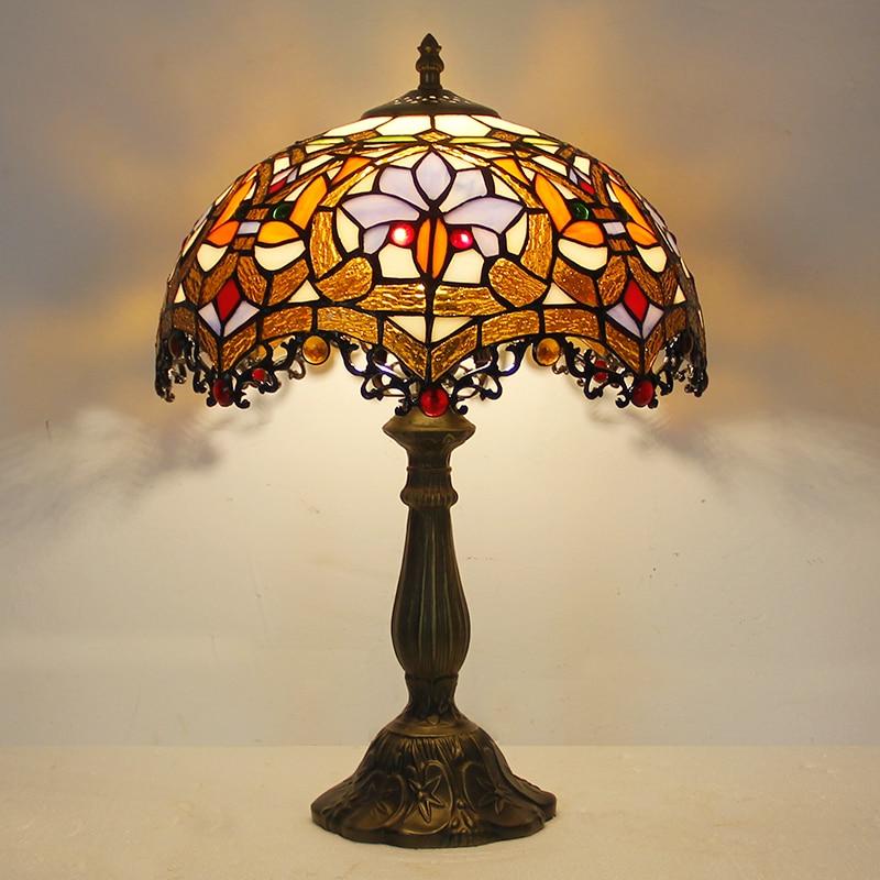 مصباح قراءة لطاولة من الزجاج الملون ، مصباح على شكل ذيل التنين الأحمر الباروكي ، بقطر 12 بوصة ، لغرفة النوم وغرفة المعيشة