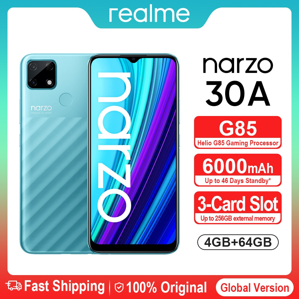 Перейти на Алиэкспресс и купить Промо код 【750₽-150₽:Ucenka251】Realme Narzo 30A смартфон 4 Гб 64 Гб 6,5 ''MTK Helio G85 смарт-телефон с двумя слотами Камера 6000 мА/ч, полноэкранный 18 Вт Android мобильн...