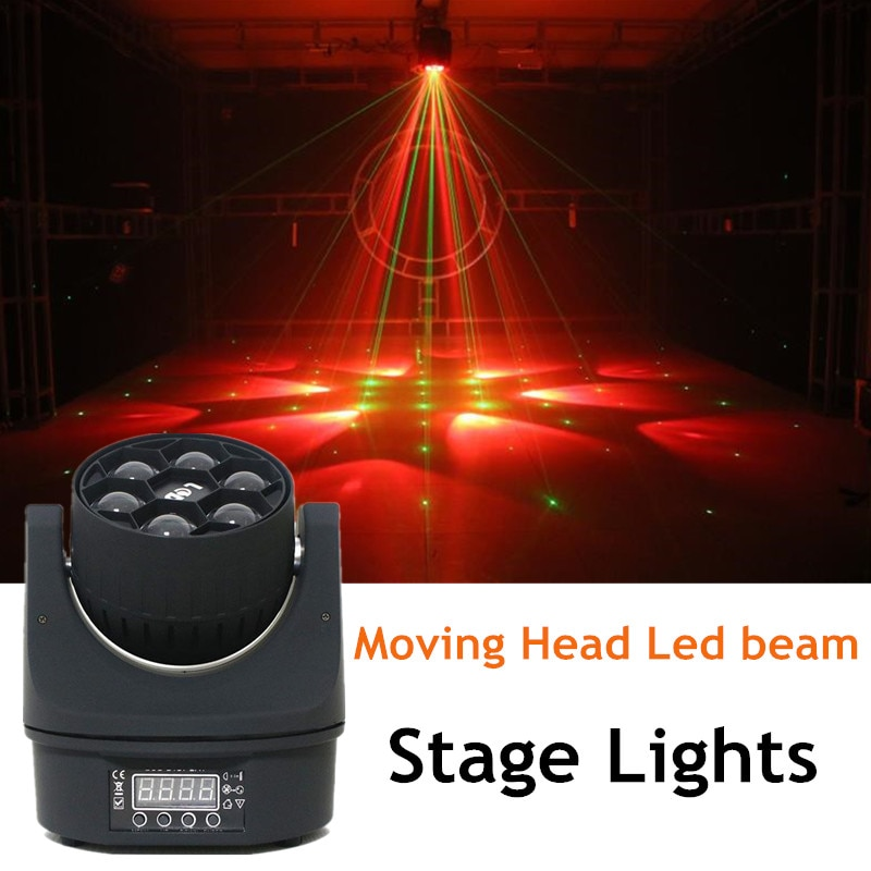 Disco Light Party Moving Head Led Beam Stage Lights RGBW 4 In 1 Laser Show System Six Bee Eye KTV Flash Dance Floor Club Lights