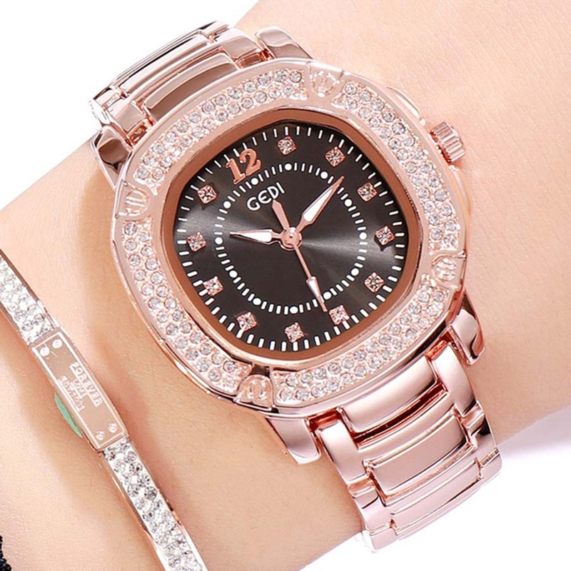 Relógios de Luxo Relógio Venda Quente Moda Rosa Preto Mulheres Strass Senhoras Quartzo Relógios Vestido Elegante Cristal Pulso