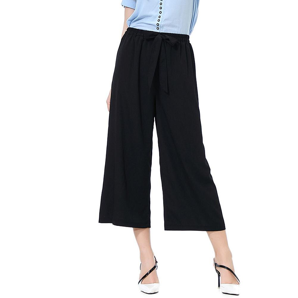 Fashion Women New Summer Wide Leg Pants Solid Color/Striped Drawstring Wide Leg Trousers Loose Fit Pants Femme