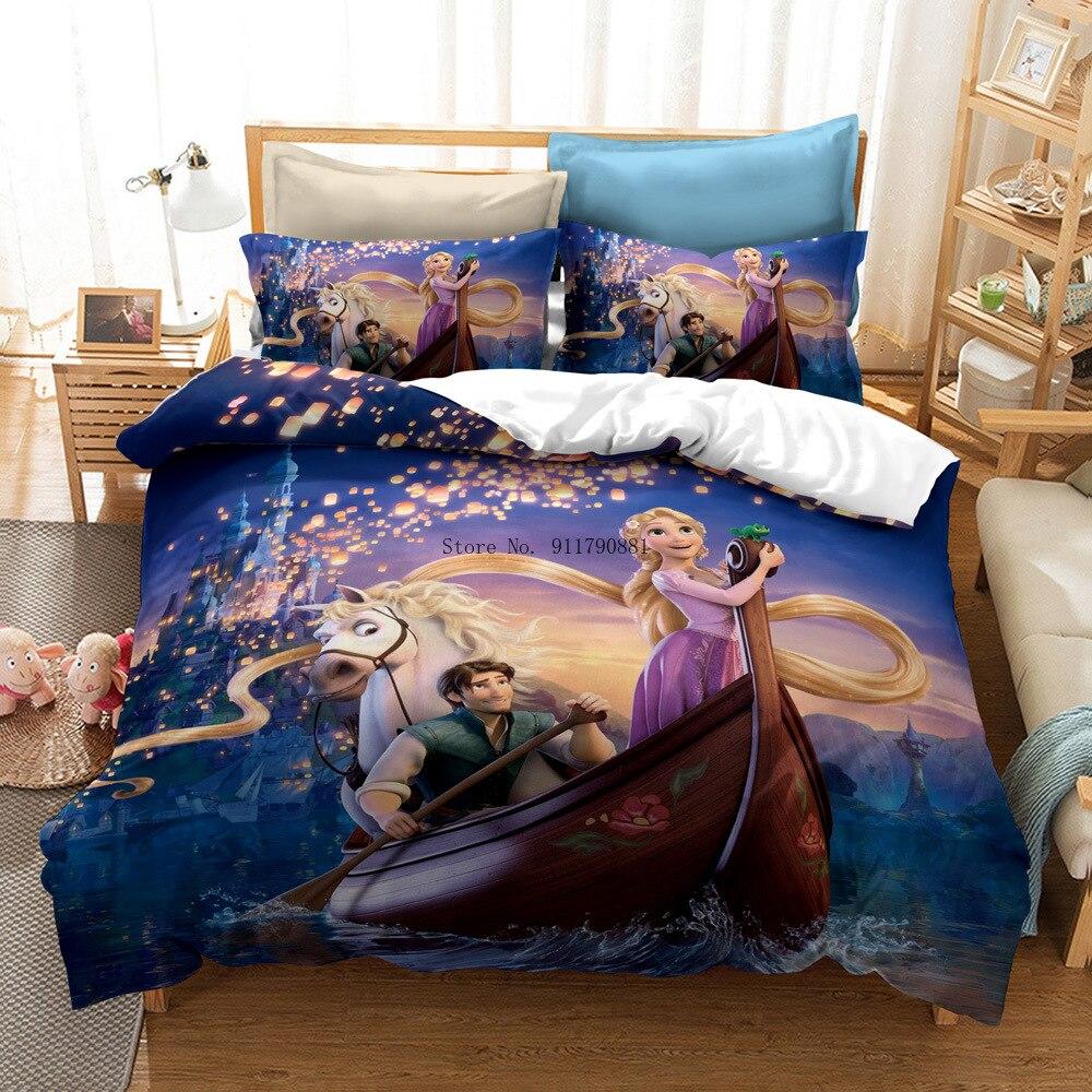 المنسوجات المنزلية ديزني رابونزيل الجمال والوحش طباعة طقم سرير أسفل غطاء لحاف المخدة الفتيات غرفة نوم الديكور اللون طباعة