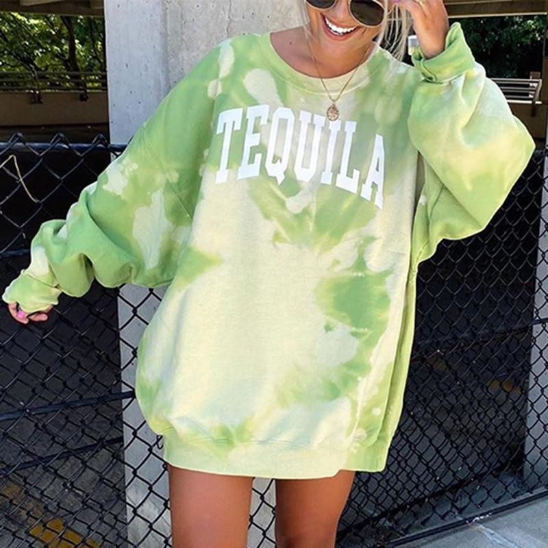 Sudaderas con capucha Tie Dye para mujer, Otoño, estampado de letras Multicolor, verde, gradiente, cuello redondo, sudadera, ropa de calle holgada de manga larga 2XL