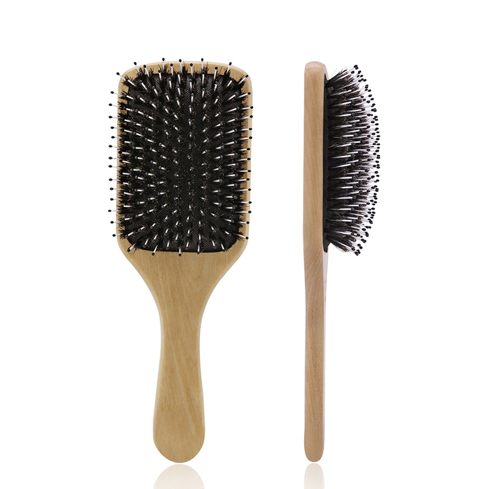 Professional 100% Boar Bristle Paddle Brush Cushion Wood Hair Massage Brushes For Detangle Hair Styling Tools Anti Static