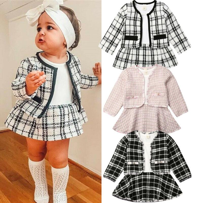 新ファッション 1-6Y 女の子フォーマルドレスクリスマス服セット長袖チェック柄コート + ワンピース 2 個パーティー暖かい服