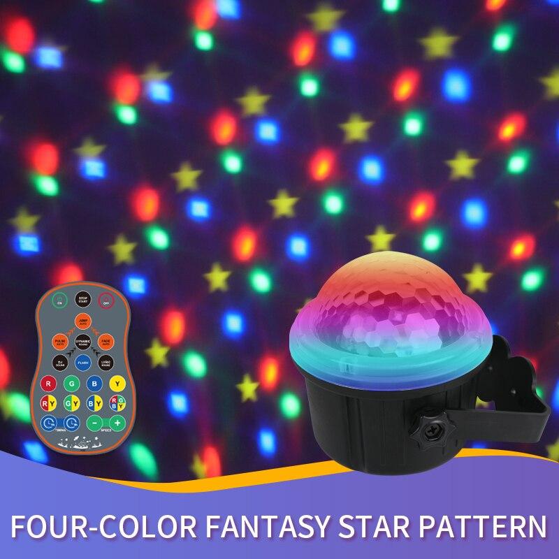 Лазерная лампа BROTHER с красочными звездами, светодиодный фонарик с голосовым управлением, сценическая лампа с дистанционным управлением для...