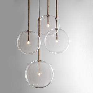 Nordic Transparent Glass Ball Pendant Light Postmodern Minimalist Kitchen Bedroom Restaurant Spherical Bubble LED Hanging Lamp