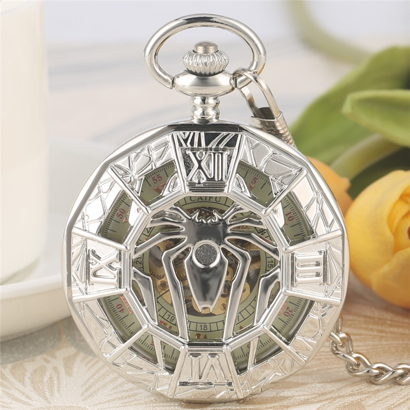 Antique Hollow Out Pocket Watch Spider Case Men Women Handwinding Mechanical Watches with Fob Pendant Chain Collectable Clock