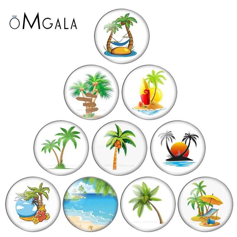 Novo verão praia coqueiro árvore 10pcs1 0mm/12mm/14mm/16mm/18mm/20mm redondo foto de vidro cabochon demo plana de volta fazendo descobertas