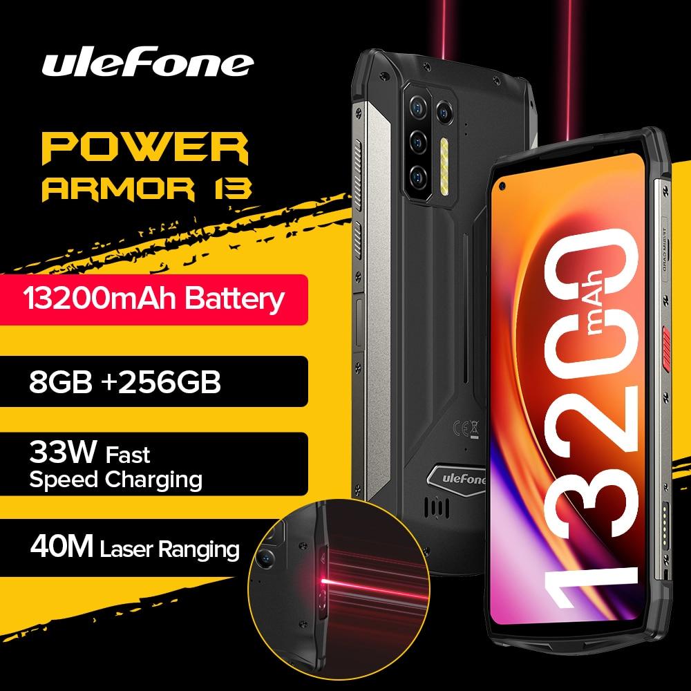 Ulefone Power Armor 13 13200mAh جوّال المهامّ الوعرة 256GB أندرويد 11 مقاوم للماء الهاتف الذكي 6.81
