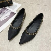 flat shoes women metal decoration flats soft bottom women boat shoes slip on ladies pointed toe loafers women ballet flats