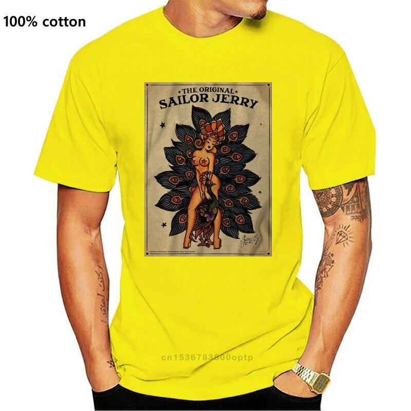 New Rum Inspired Sailor Jerry Rum Tattoo Lady Peacock Tshirt T Shirt Mens Kids 0234 Printed Tee Shirt