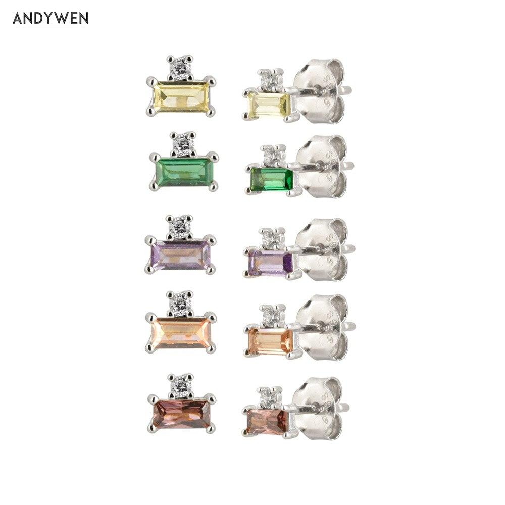 ANDYWEN 100%  925 Sterling Silver Green Luxury Stud Earring Mini Luxury Women Special Valentiens Jewellry For 2020 Fashion
