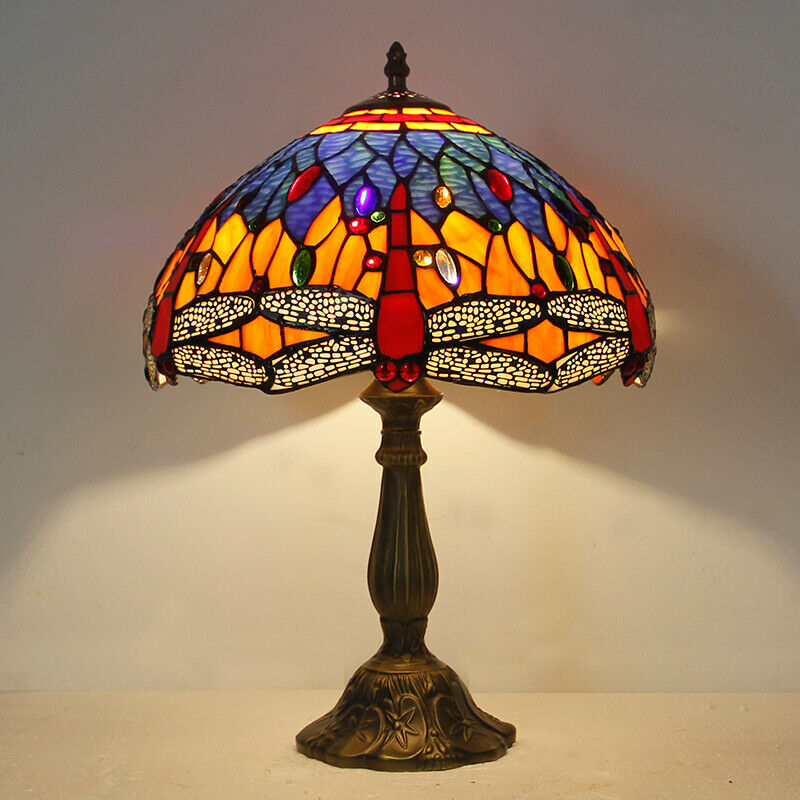 Tiffany style stained glass table lamp 12 inch Shade Blue/Green Dragonfly design Reading