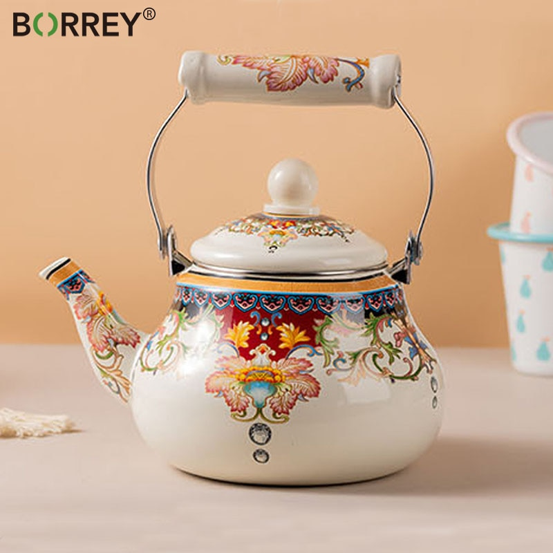 BORREY-إبريق شاي سعة كبيرة 2.5 لتر من المينا للمنزل أو الفندق ، موقد غاز عالمي بمقبض سميك