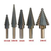 5pcs step drill bit set hss cobalt multiple hole 50 sizes cobalt titanium conical carbide drill perforator hole cutter tool
